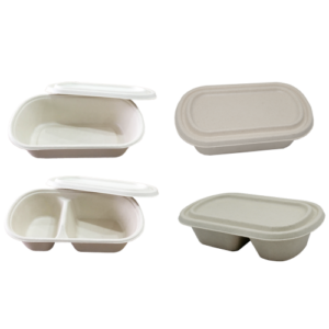 Sugarcane Lunch Box with Lid 750ml (1part & 2 parts)